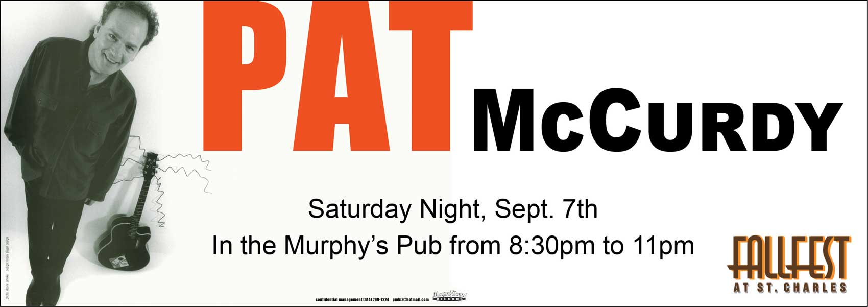 Pat McCurdy - Saturday Sept 7th - 8:30 to 11:00pm - Murphy's Pub