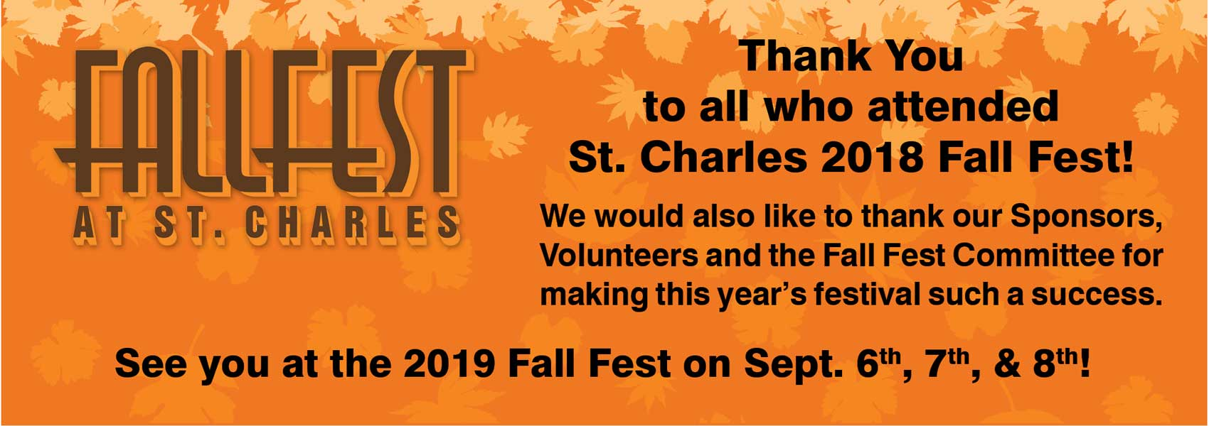 St. Charles Fall Fest 2018 Thank You